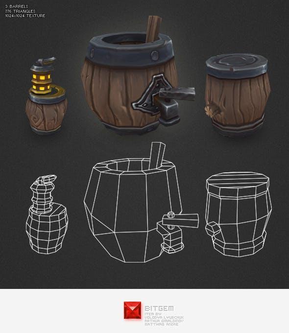 Low Poly Barrels - 3DOcean Item for Sale