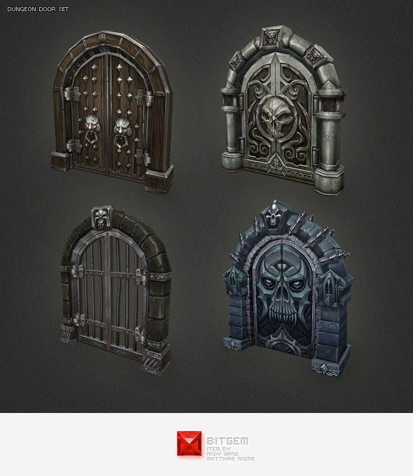 Low Poly Dungeon Door Set - 3DOcean Item for Sale