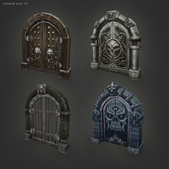 Low Poly Dungeon Door Set