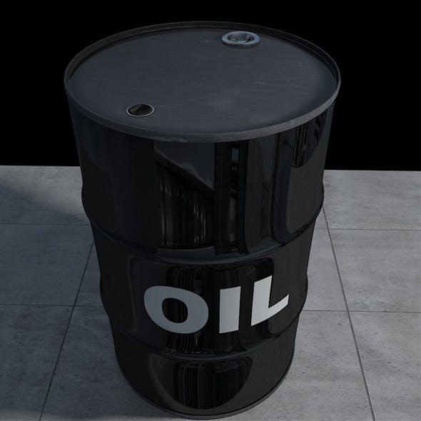 Realistic Oil Barrel with Textures and UV Maps