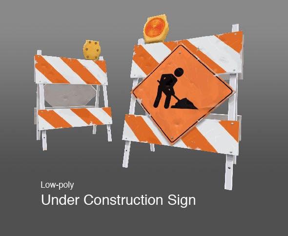 Under Construction Barricade - 3DOcean Item for Sale