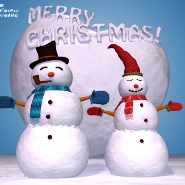 High Quality 3D Snowman Set