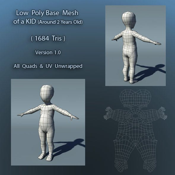 Kid Low Poly Base Mesh Ver1.0 - 3DOcean Item for Sale