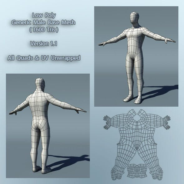 Optimized Low Poly Male Human Base Mesh Version1.1 - 3DOcean Item for Sale