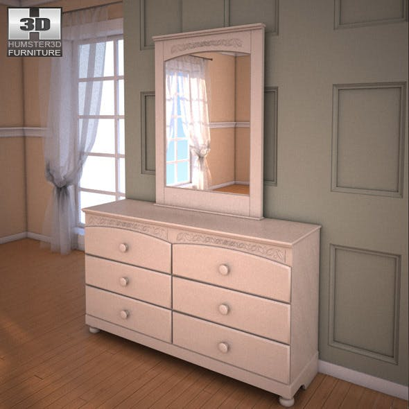 Ashley Cottage Retreat Dresser & Mirror - 3DOcean Item for Sale