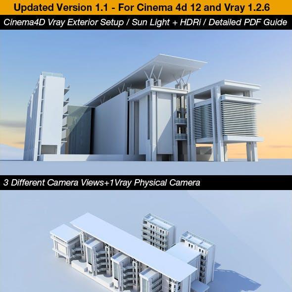 Cinema4D Vray Exterior Setup, HDRi&Sun + PDF Guide