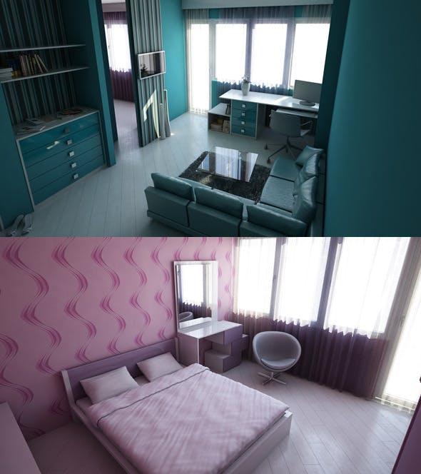 Livingroom & Bedroom - 3DOcean Item for Sale
