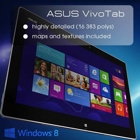 Windows 8 Tablet ASUS VivoTab High Poly - 3DOcean Item for Sale