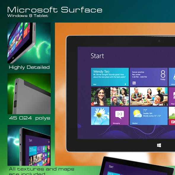 Windows 8 Tablet Microsoft Surface + Touch Cover