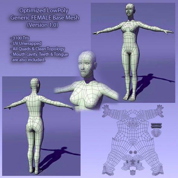 Optimized Low Poly Human Female Base Mesh Ver1.0
