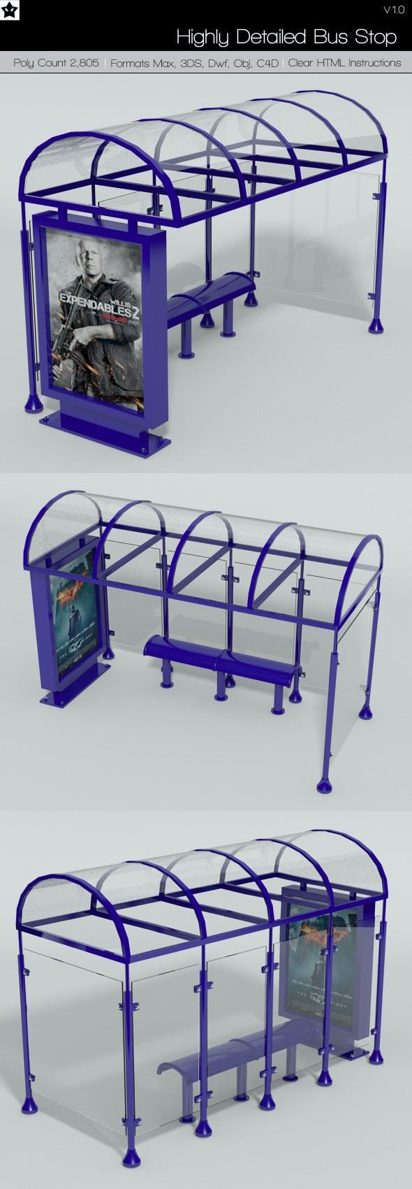 Bus Stop Medium Poly - 3DOcean Item for Sale