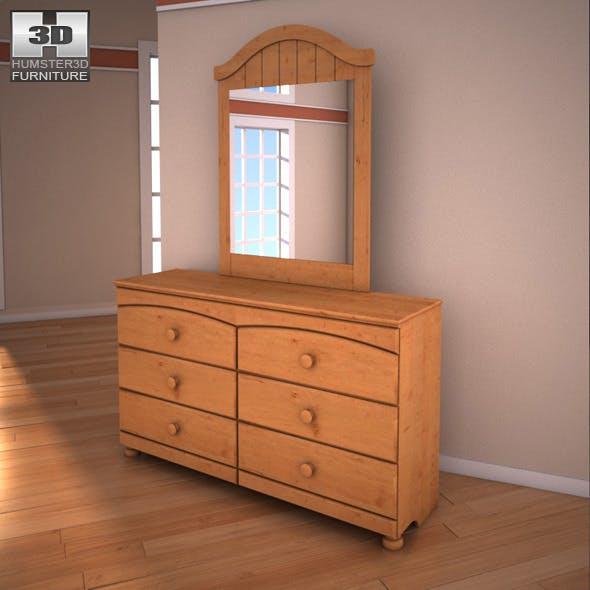 Ashley Stages Dresser & Mirror  - 3DOcean Item for Sale