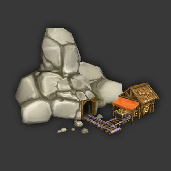 Gold Mine Low Poly - 3DOcean Item for Sale