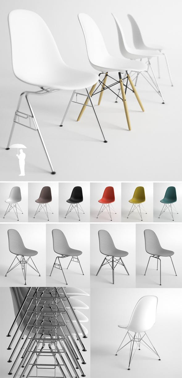 Eames Plastic Side Chair 4in1 DSW, DSX, DSR, DSS - 3DOcean Item for Sale