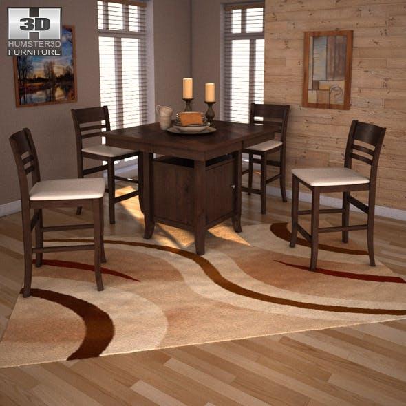 Ashley Lynx Extension Pub Table & Barstools - 3DOcean Item for Sale