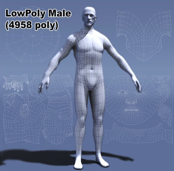 Low Poly Male Human - 3DOcean Item for Sale