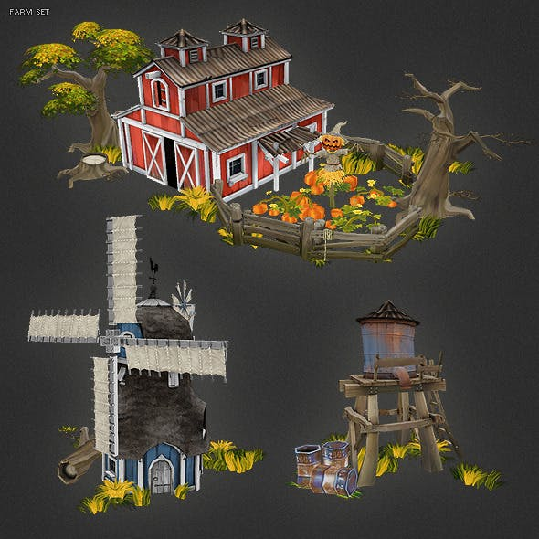 Low Poly Farm Set 01