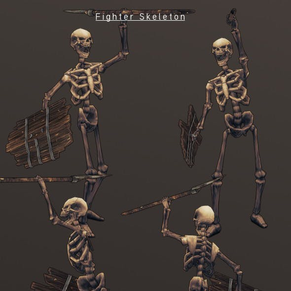 LowPoly HandPainted Fighter Skeleton