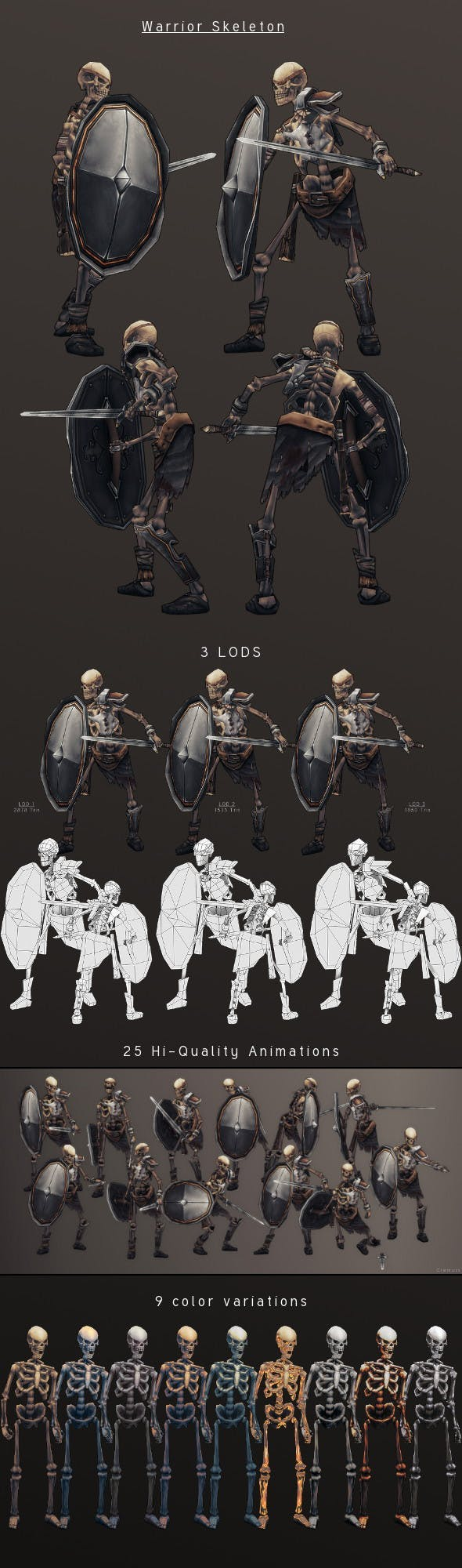 LowPoly HandPainted Warrior Skeleton - 3DOcean Item for Sale