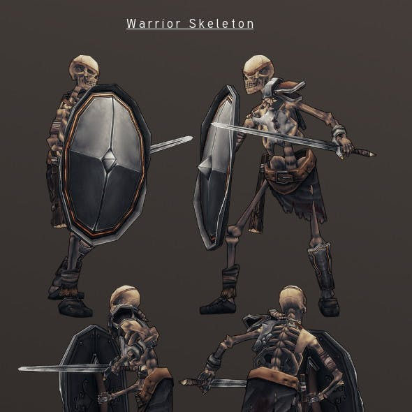 LowPoly HandPainted Warrior Skeleton