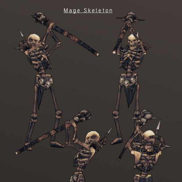 LowPoly HandPainted Mage Skeleton