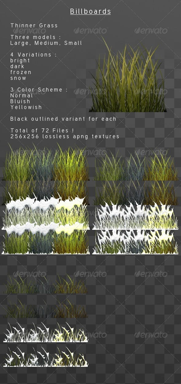 ThinnerGrass billboard pack - 3DOcean Item for Sale