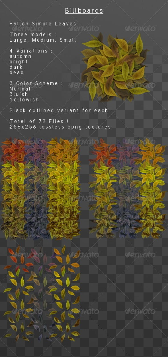 Fallen simple leaves Billboard pack - 3DOcean Item for Sale