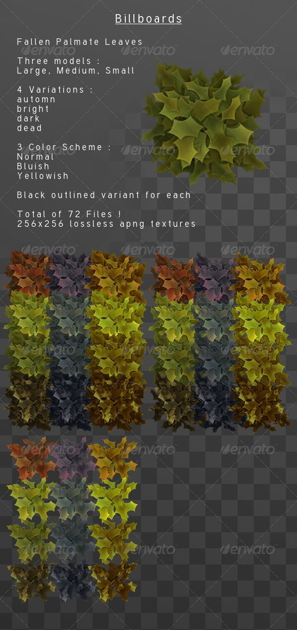 Fallen palmate leaves Billboard pack - 3DOcean Item for Sale