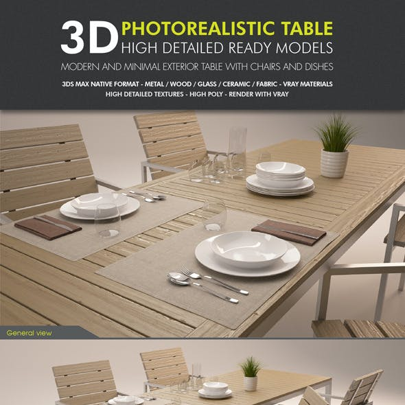 Garden Table with Chairs and Dishes