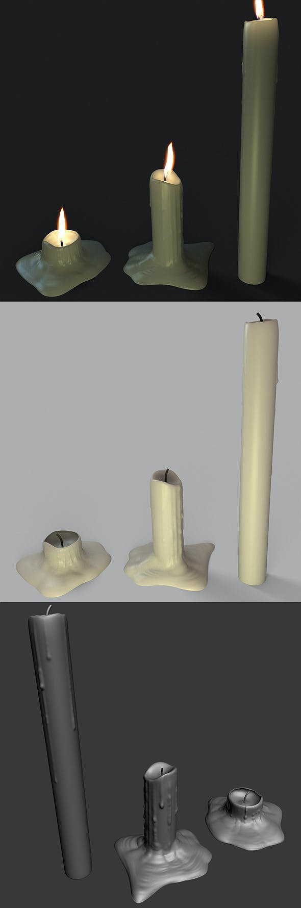 Melted Candles - 3DOcean Item for Sale