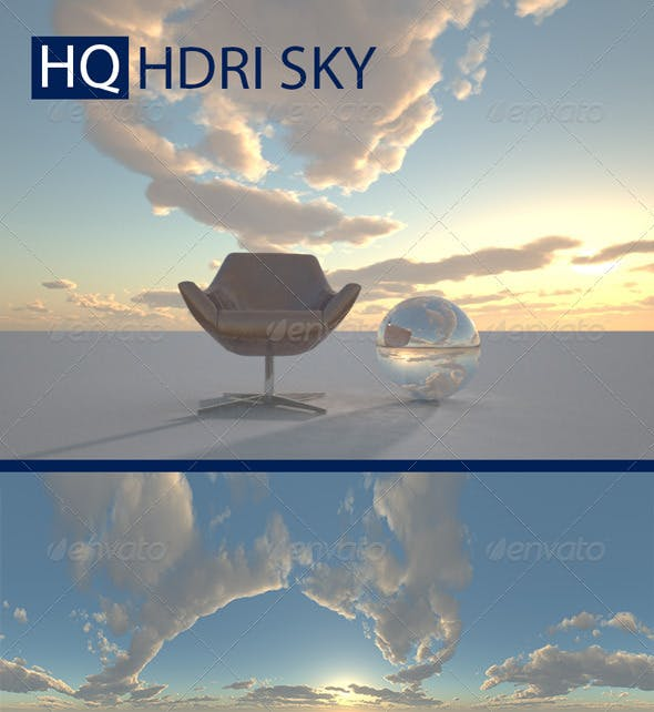 Realistic Cloudy Evening Sky HDRI - 3DOcean Item for Sale