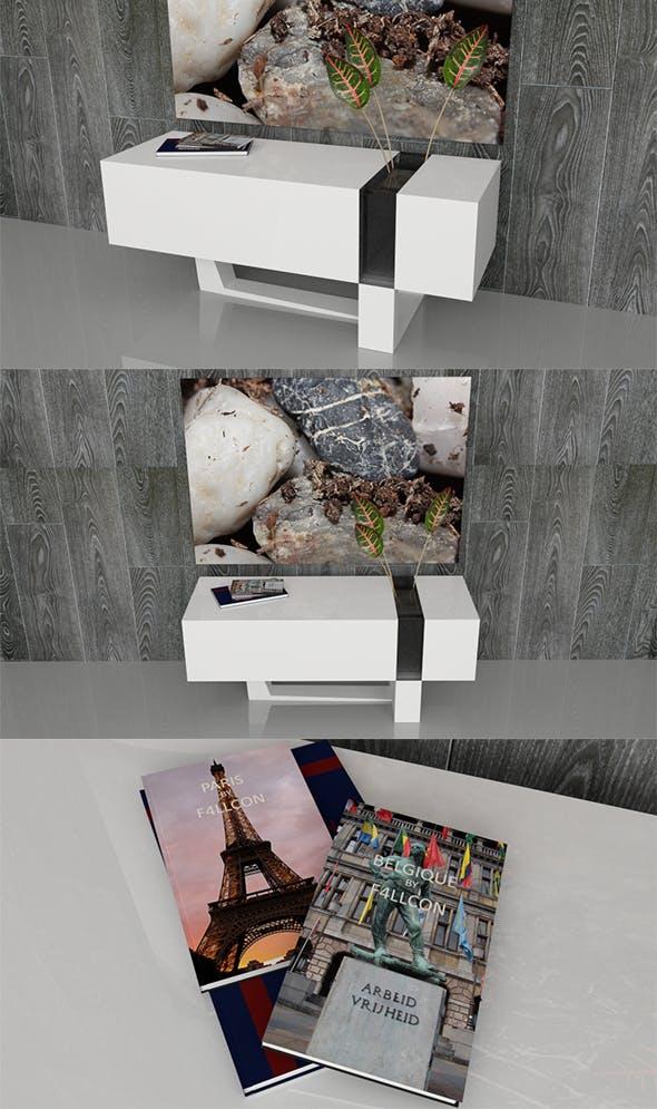Modern Sideboard with Books, Vase, Plants & Frame - 3DOcean Item for Sale