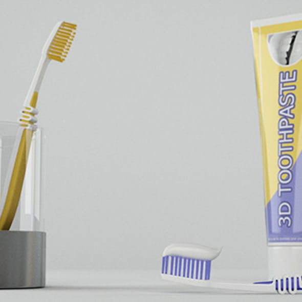 Toothbrush And ToothPaste Packshot
