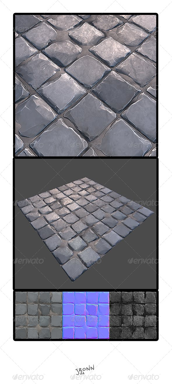 Stone Road Tile 02 - 3DOcean Item for Sale