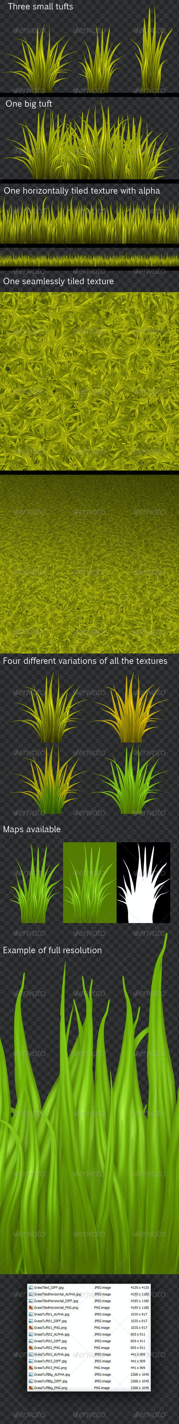 HQ Pack of Painted Grass Textures - 3DOcean Item for Sale