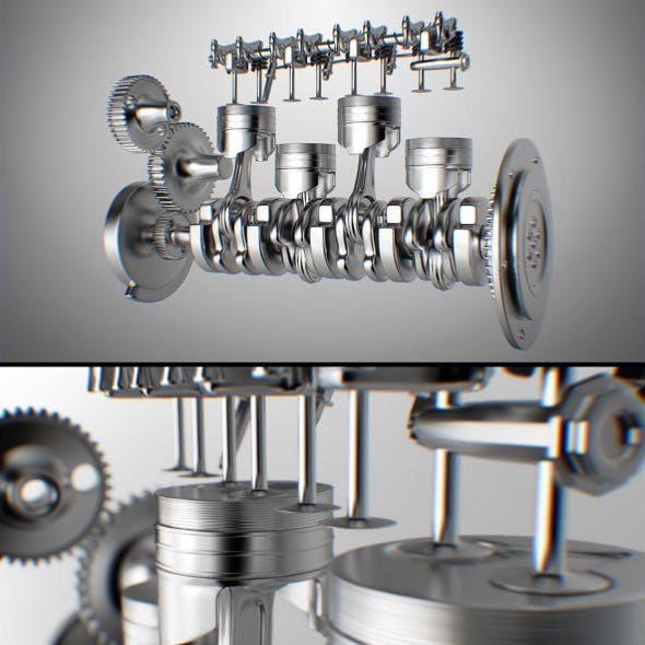 Engine 4 Cylinder CG Textures & 3D Models from 3DOcean