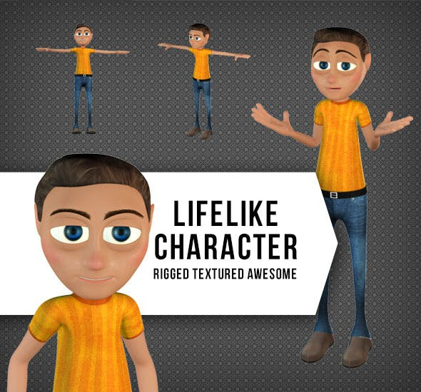 Rigged and Textured Character for Animation - 3DOcean Item for Sale