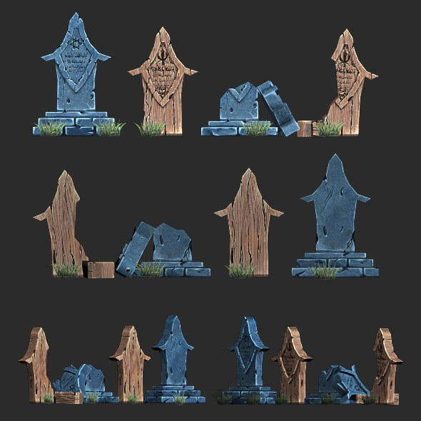 Low Poly Gravestone  1 - 3DOcean Item for Sale