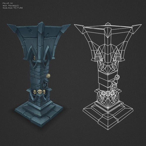 Low Poly Dungeon Pillar 02