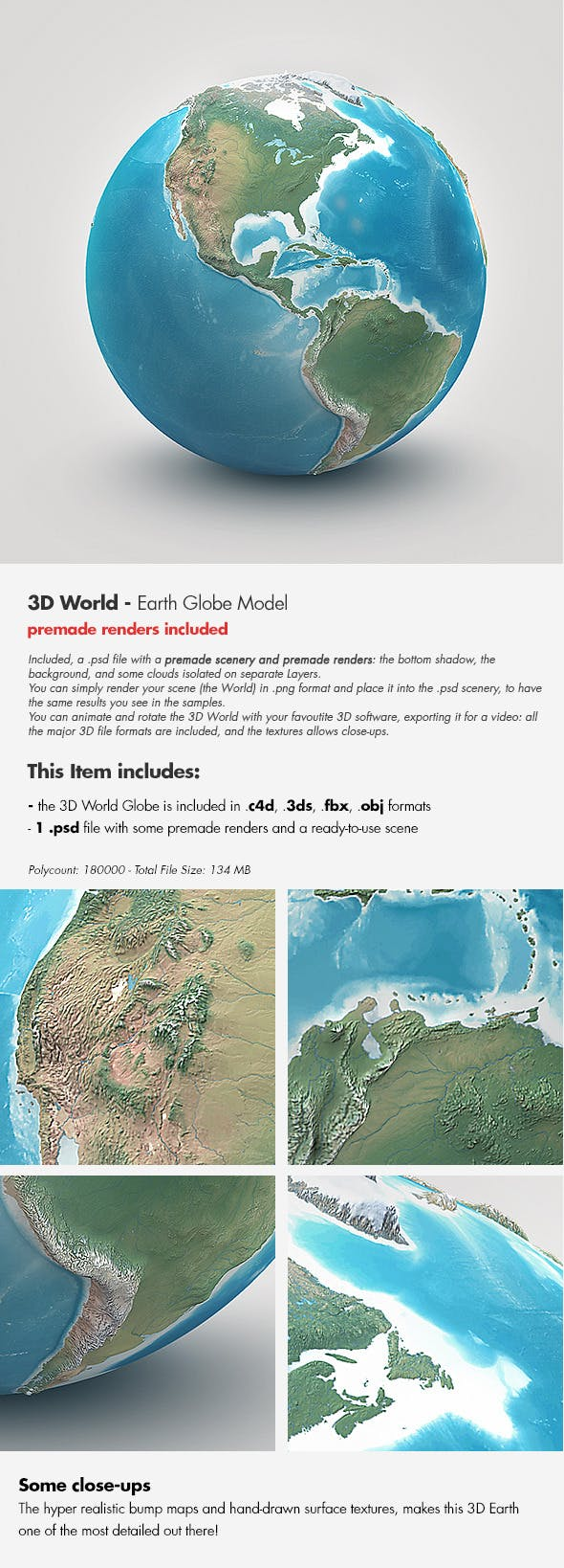 Planet Earth - Realistic 3D World Globe - 3DOcean Item for Sale