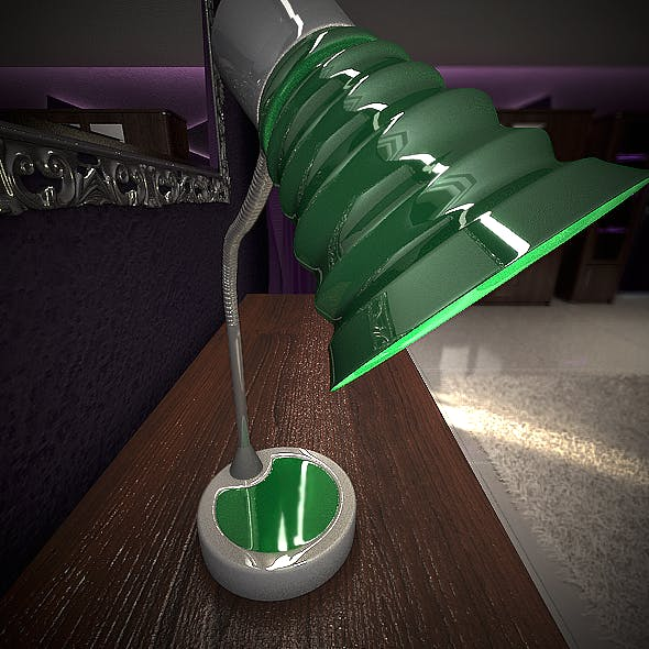 Realistic Green Lamp on Desk