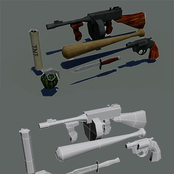 Lowpoly gameready weapons pack 1930s