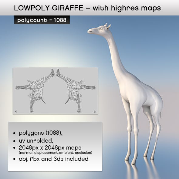 Realistic Lowpoly Giraffe with Highres Maps