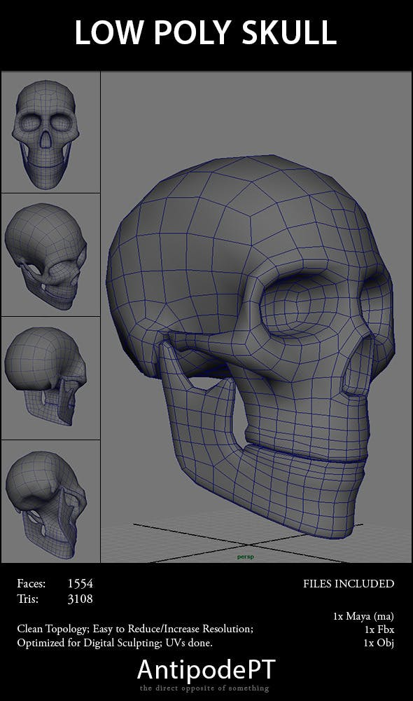 Low Poly Skull - 3DOcean Item for Sale