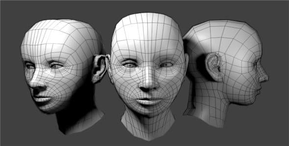 Generic Female Low Poly Head - 3DOcean Item for Sale