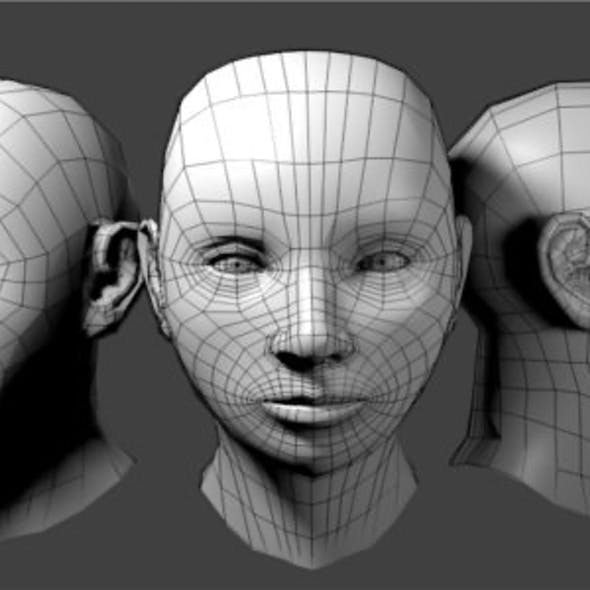 Generic Female Low Poly Head