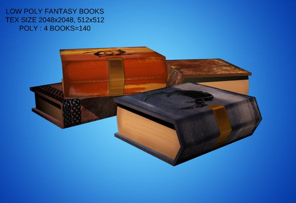 Low Poly Set of 4 Fantasy Style Books - 3DOcean Item for Sale