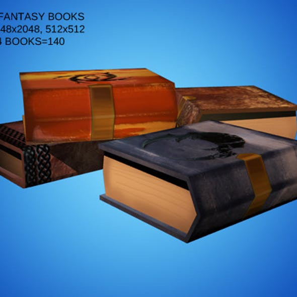 Low Poly Set of 4 Fantasy Style Books
