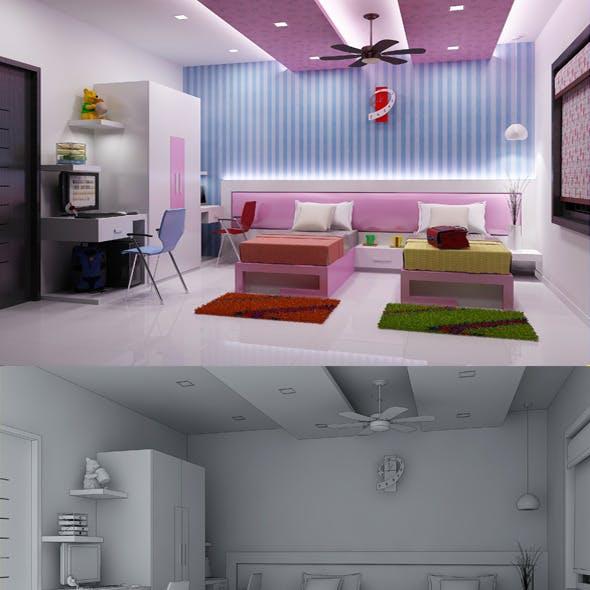 Realistic Kids Bedroom Interior 3D model