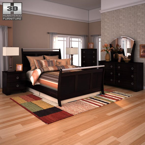 Ashley Pinella Sleigh Bedroom Set - 3DOcean Item for Sale
